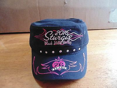 Pink ladies womens Sturgis rally 2016 black hills cadet hat motorcycle 76th NWT