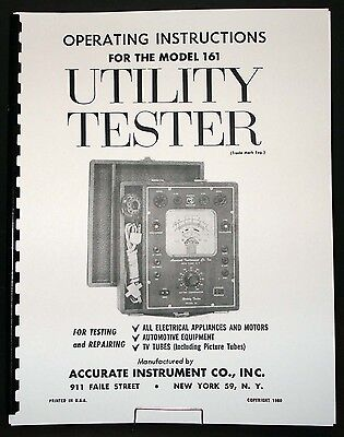 Accurate Instrument Model 161 Utility Tester Manual