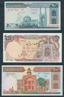 """1982-2005 100 to 2000 Rials """"SET 5 ISLAMIC STATE NOTES"""". P135-144a UNC Cat $26"""