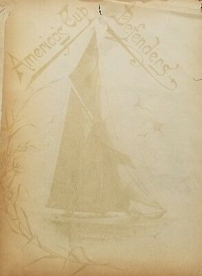 VICTORIAN 19th c CELLULOID AMERICAS CUP DEFENDERS Photo  ALBUM  15 CABINET CARDS