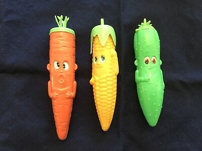 Rare Retro Novelty Plastic Vegetable Look Candy Containers - Set Of 3
