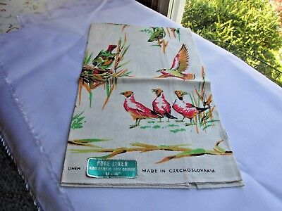 "New Vintage Pure Linen Towel 18X 30"" Czech Colorful Birds"