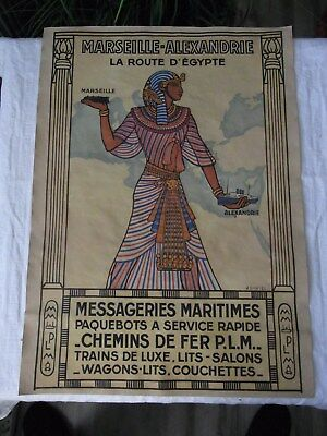 Altes Werbeplakat Marseille - Alexandrie La Route D´Egypte Messageries Maritimes