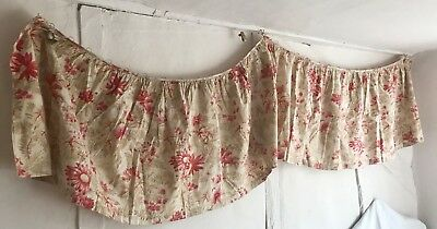 19C French Curtain Panel Vintage Cotton Indiennes Fabric Pink Oatmeal Home Decor