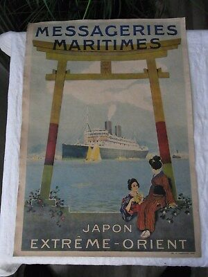 Altes Werbeplakat  Messageries Maritimes Japon Extreme - Orient