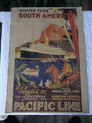 Altes Werbeplakat,Schiffsplakat Winter Tour South America Pacific Line