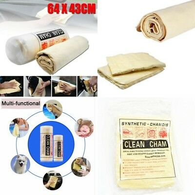Large Synthetic Chamois Leather Car Valeting Drying Towel Size 66cm x 43cm