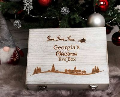 Personalised Christmas Eve Box Engraved Wooden 2 Sizes New Designs Santa Treats