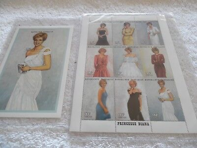 Princesse Diana 1997 Togo Stamps w/ COA One Large Stamp and One Sheet of 9 Stamp