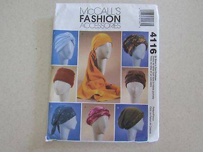 Mccall's Accessories Sewing Pattern 4116 Turbans, Headwrap & Hats