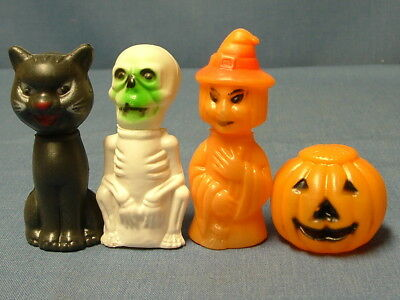 Vintage Halloween Plastic Candy Containers Witch-Black Cat-Skeleton-Pumpkin-4 Pc