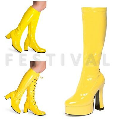5dfe6722239 Yellow Knee High Eyelet Platform Fancy Dress 60 s 70 s Retro Fashion Go Go  Boots