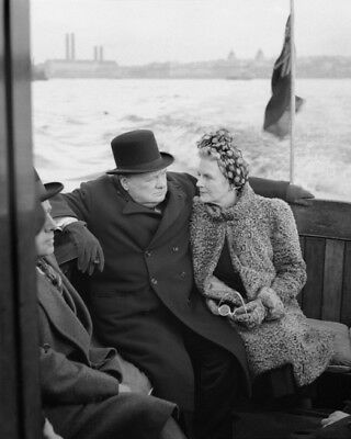Prime Minister WINSTON CHURCHILL & wife Clementine Glossy 8x10 Photo in London