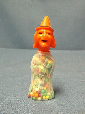 Vintage Halloween Plastic Candy Container Witch With Broom