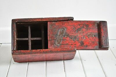 Antique Wooden Artists Box,Sliding Lid,Red Painted Artists Box,Vintage Art Box,