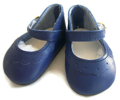 "SALE Navy Blue Mary Jane Shoes Scallop Design for 18"" American Girl Doll Clothes"