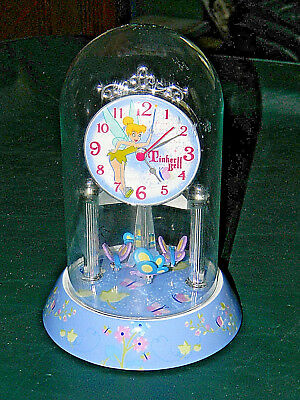 Disney Tinker Bell Anniversary Clock with Glass Dome EXCELLENT CONDITION !