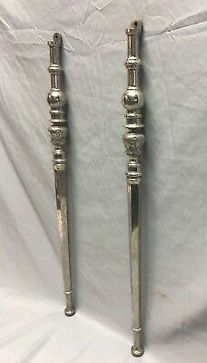Pair Standard Antique Nickel Brass Bathroom Sink Legs Marble Vtg Console 131-18J