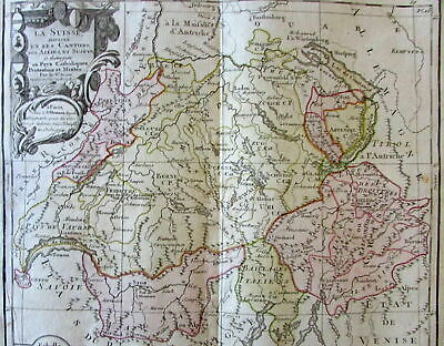 Switzerland shows cantons 1766 Brion Desnos decorative old map cartouche