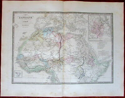North Africa remarkable interior detail 1872 Brue lovely large old map