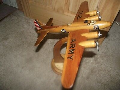 Strombecker Boeing B-17  Flying Fortress Solid Western Pine Model Plane & Stand