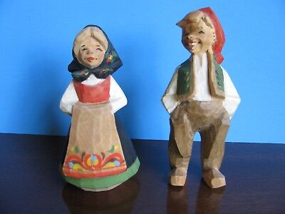 Vintage Hand Carved Couple Man Woman Henning Norway