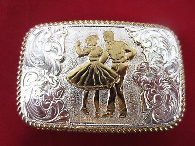 Vintage 1970s SQUARE DANCING COUPLE Crumrine Western Belt Buckle Silver Plate
