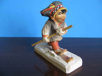 Vintage Hand Carved Boy on Skis Henning Norway
