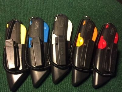 5 COLOR KIT Easy Cut 1000 Safety Box Cutter Knife w/ Holster & Lanyard Easycut
