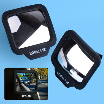 2pcs Auto Blind Spot Mini Small Square Rearview Mirror 270° Angle Stick-on Side