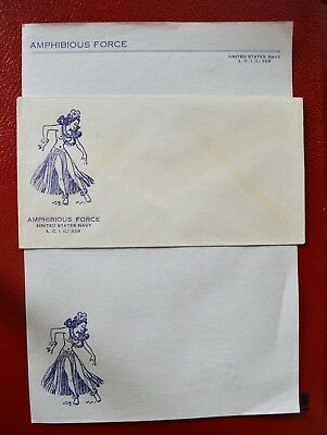 Original Ww2 Us Navy Lci (L) 329 Amphibious Force Envelope & Writing Paper