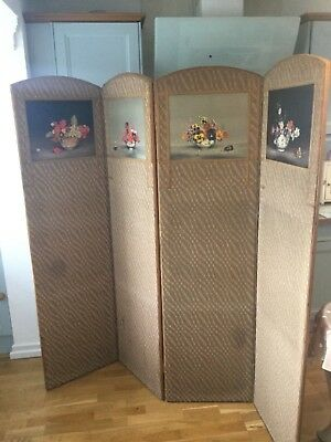 Edwardian Screen Room Divider  In A Chinese Style Of 4 Painted Panels