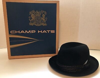 32ff36a8447 CHAMPS VINTAGE BLACK Felt Fedora Hat w Metal Shield Logo -  15.95 ...