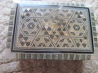 Vintage Mother Of Pearl Jewelry Box  Star of David