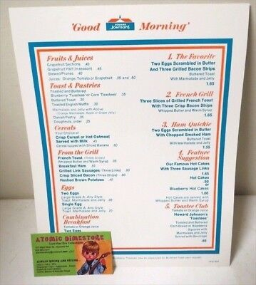 Vintage 1973 HOWARD JOHNSON'S BREAKFAST MENU MINT