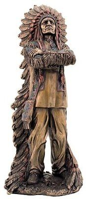 "11.5"" Chief Sitting Bull Native Statue Figurine American Warrior Indio Indian"