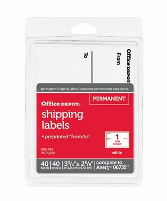 Office Depot White To/From Shipping Label Pad, 3 3/4in. x 2 5/8in., Pack Of 40,
