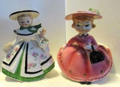 2 Vintage pretty girl planter vases 1 in pink and 1 in white