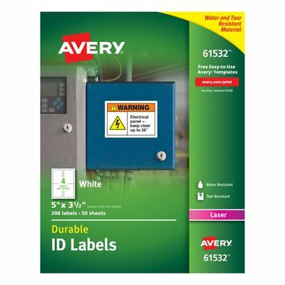 """Avery Durable ID Labels With TrueBlock Technology, 61532, 5"""" x 3 1/2"""", 200-Pk"""