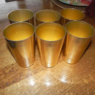 #1751 6 Vintage Retro Anodized Gold Aluminum Metal 10 Ounce Drinking Glasses OLD