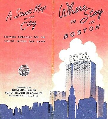 """Vintage 1935 Street Map WHERE TO STAY IN BOSTON 17"""" by 26"""" Chamber of Commerce"""