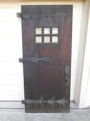 Vintage entry door. Solid wood with 6 etched glass windows. 60 - 90 years old.