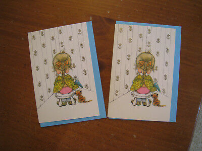 2 Vintage Norcross Small Greeting Cards Tina Sorry 'Bout That Girl in Corner New