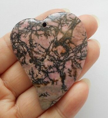 "2"" Heart pendant-Natural Rhodonite gemstone Pendant 1pc,50mmX40mm"