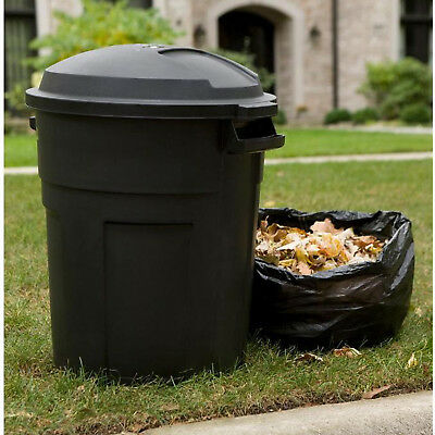 Black Round Trash Can With Lid 20 Gallon Outside Heavy Duty Garbage Recycle Bin