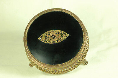 .antique/collectable Retro Brass And Glass Vanitiy Box