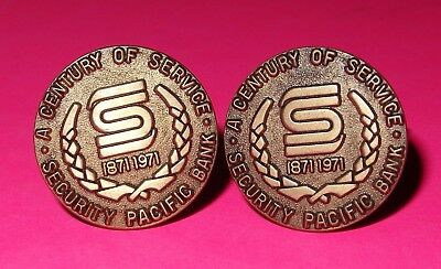 """Vintage Cuff Links, 1971: """"security Pacific Bank - Century Of Service 1871-1971"""""""