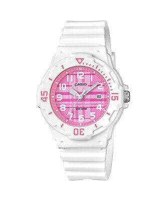 Casio LRW200H-4CV Women's White Resin Band Plaid Pink Dial Day Date Watch