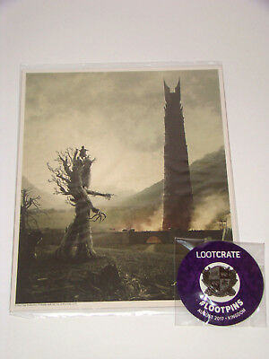 Lord of the Rings Art Print & Kingdoms Pin Lot 8x10 Hobbit Poster Loot Crate New