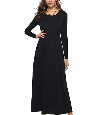 Women Long Sleeve Round Neck Casual Loose Plain Maxi Dress Casual with Pockets